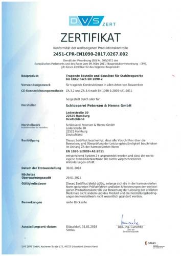 Zertifikat Werkseigene Produktionskontrolle